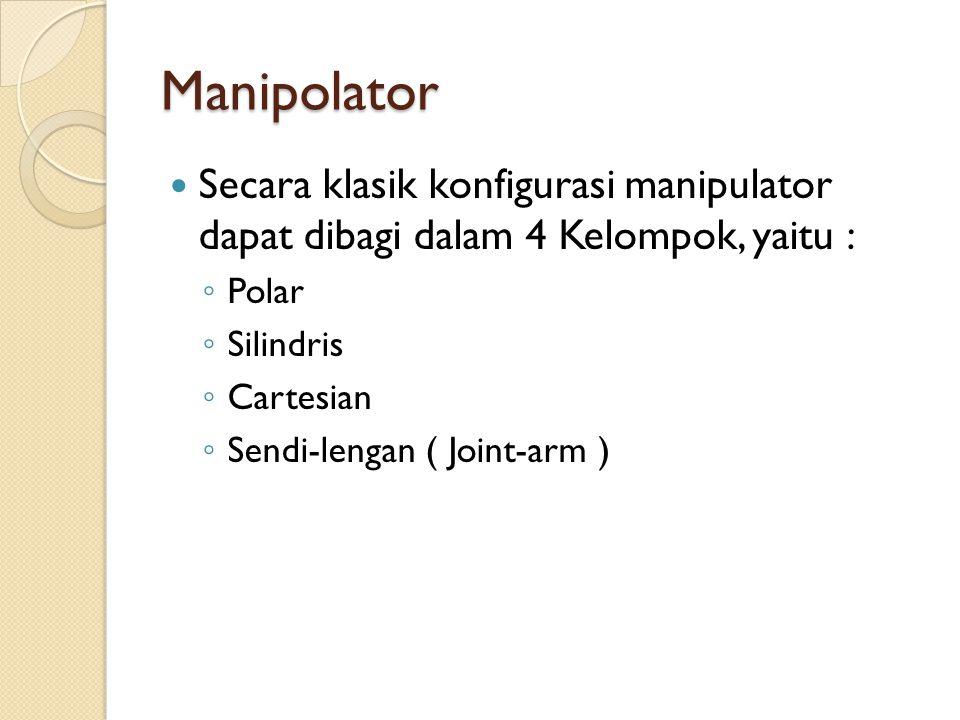 Manipolator Secara klasik konfigurasi manipulator dapat dibagi dalam 4 Kelompok, yaitu : Polar. Silindris.