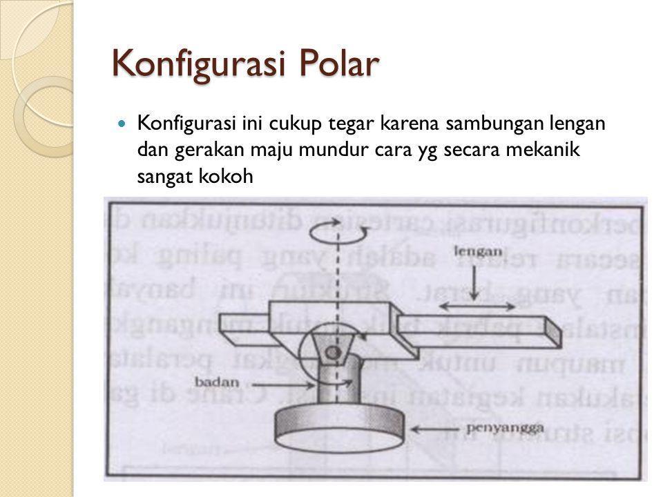Konfigurasi Polar Konfigurasi ini cukup tegar karena sambungan lengan dan gerakan maju mundur cara yg secara mekanik sangat kokoh.