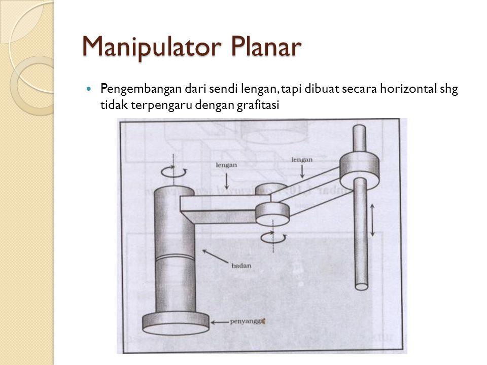 Manipulator Planar Pengembangan dari sendi lengan, tapi dibuat secara horizontal shg tidak terpengaru dengan grafitasi.