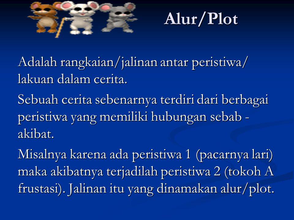 Alur/Plot Adalah rangkaian/jalinan antar peristiwa/ lakuan dalam cerita.