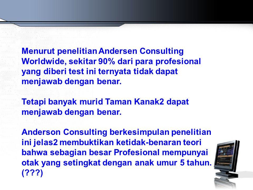 Menurut penelitian Andersen Consulting Worldwide, sekitar 90% dari para profesional yang diberi test ini ternyata tidak dapat menjawab dengan benar.