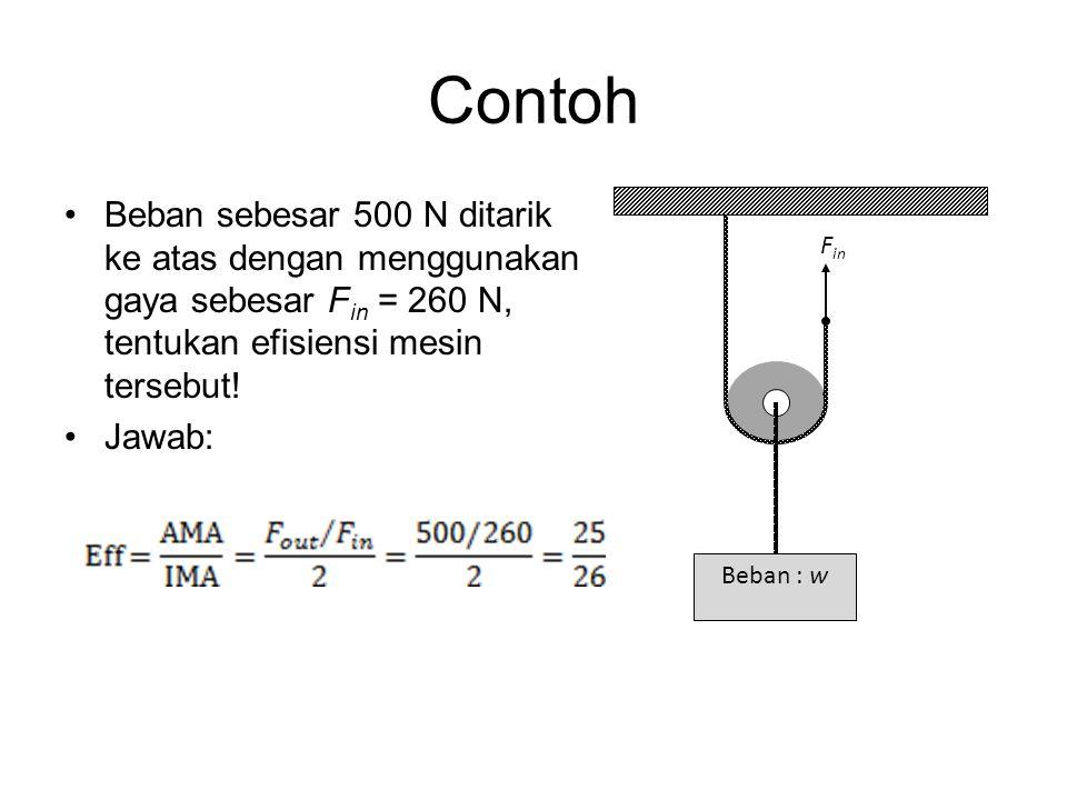 Contoh Beban sebesar 500 N ditarik ke atas dengan menggunakan gaya sebesar Fin = 260 N, tentukan efisiensi mesin tersebut!