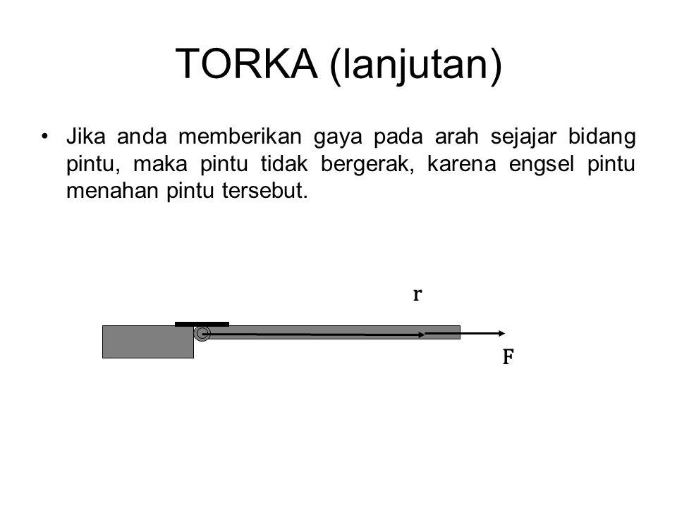 TORKA (lanjutan) Jika anda memberikan gaya pada arah sejajar bidang pintu, maka pintu tidak bergerak, karena engsel pintu menahan pintu tersebut.