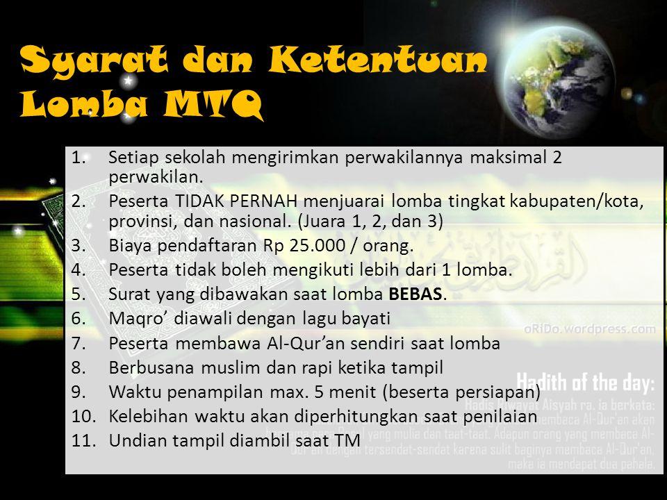 Syarat dan Ketentuan Lomba MTQ