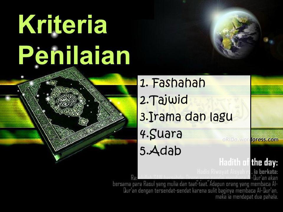 Kriteria Penilaian 1. Fashahah 2.Tajwid 3.Irama dan lagu 4.Suara