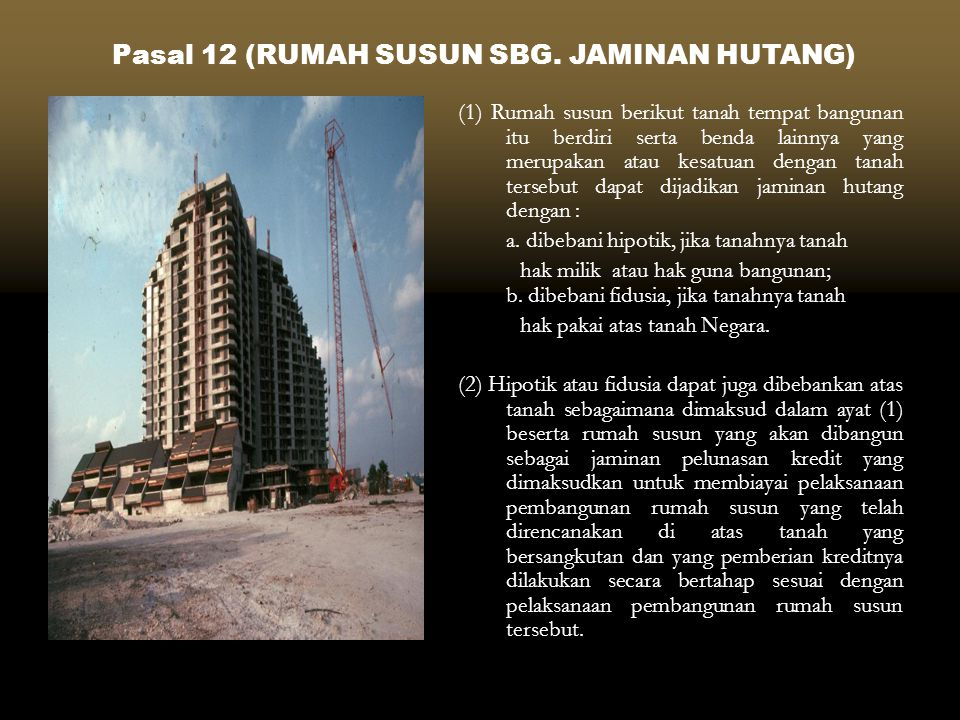 Pasal 12 (RUMAH SUSUN SBG. JAMINAN HUTANG)