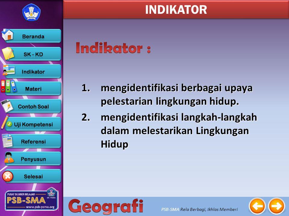 INDIKATOR Indikator : mengidentifikasi berbagai upaya pelestarian lingkungan hidup.