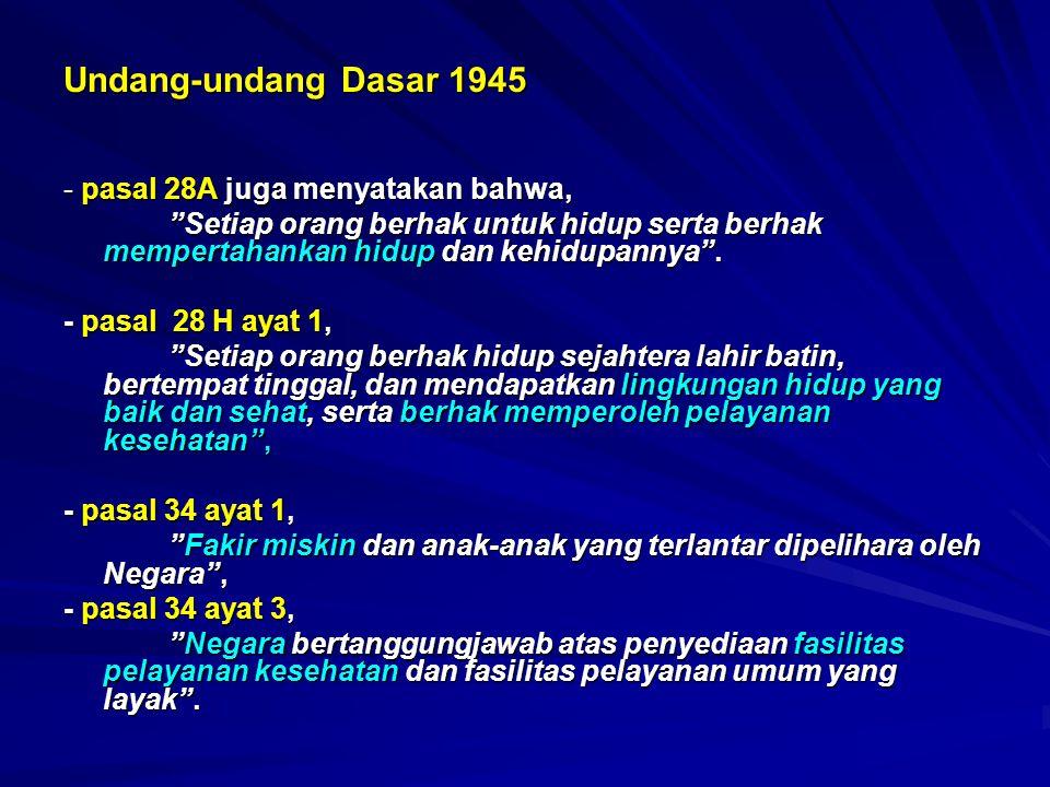 Undang-undang Dasar 1945 - pasal 28A juga menyatakan bahwa,