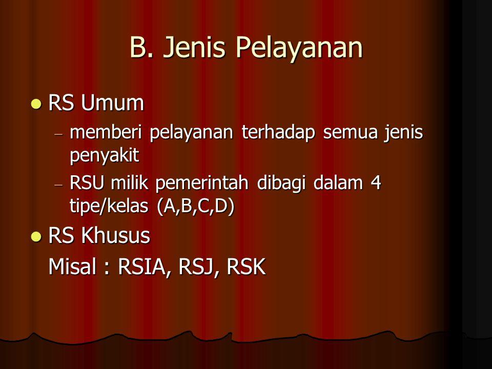 B. Jenis Pelayanan RS Umum RS Khusus Misal : RSIA, RSJ, RSK