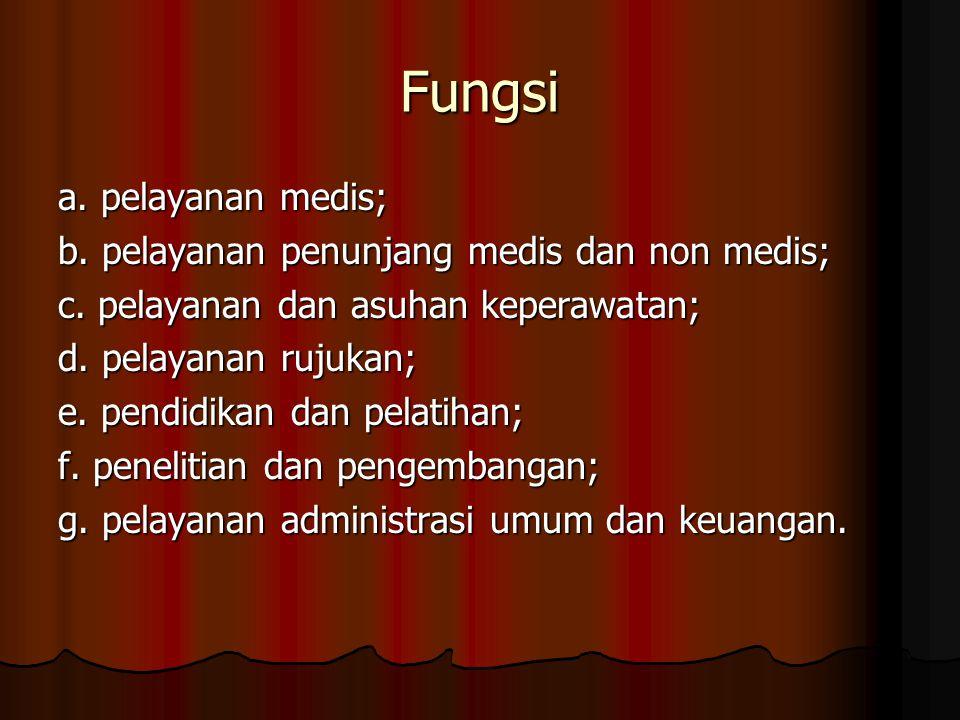 Fungsi a. pelayanan medis; b. pelayanan penunjang medis dan non medis;