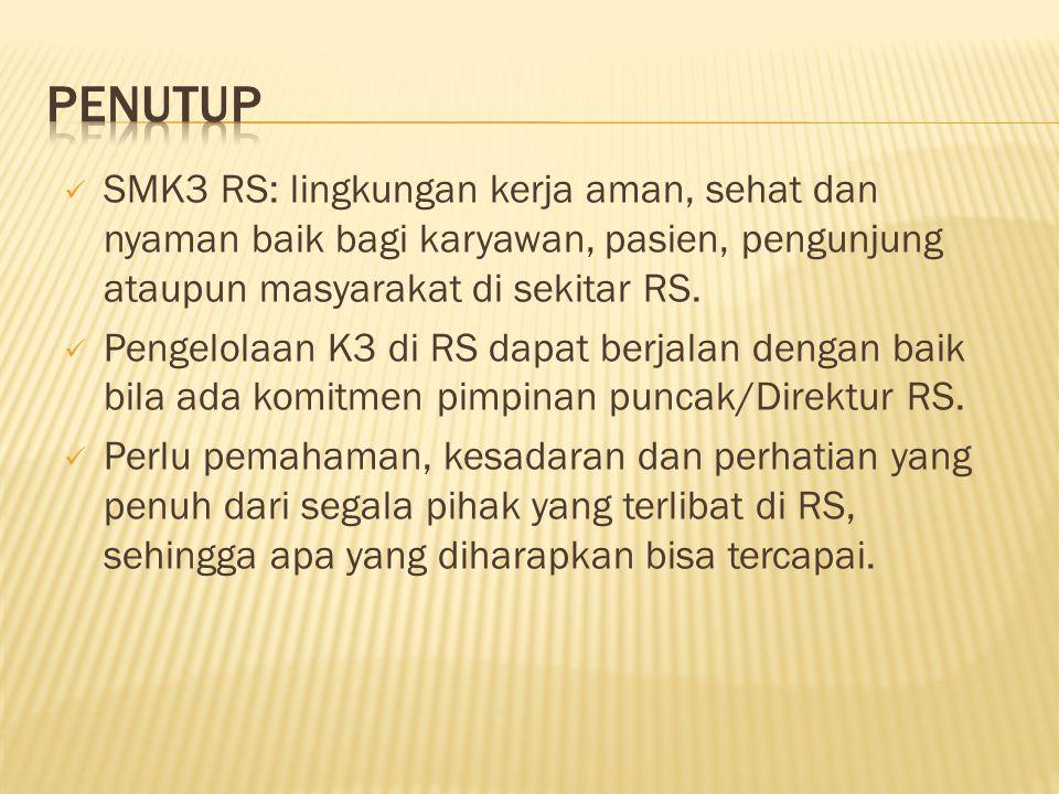 PENUTUP SMK3 RS: lingkungan kerja aman, sehat dan nyaman baik bagi karyawan, pasien, pengunjung ataupun masyarakat di sekitar RS.