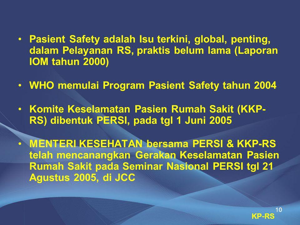 WHO memulai Program Pasient Safety tahun 2004