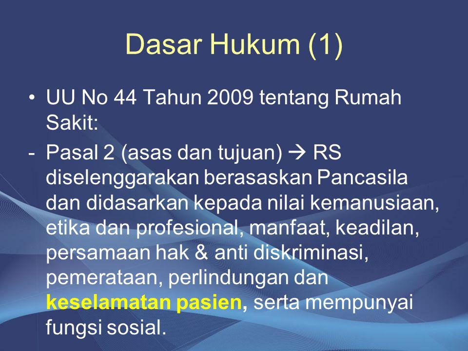 Dasar Hukum (1) UU No 44 Tahun 2009 tentang Rumah Sakit: