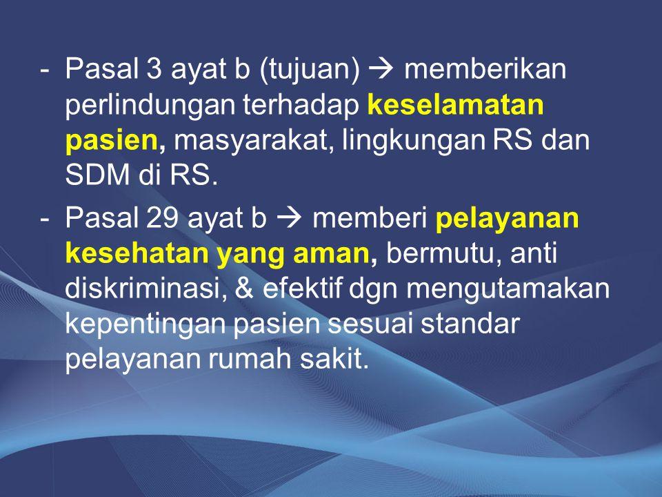Pasal 3 ayat b (tujuan)  memberikan perlindungan terhadap keselamatan pasien, masyarakat, lingkungan RS dan SDM di RS.