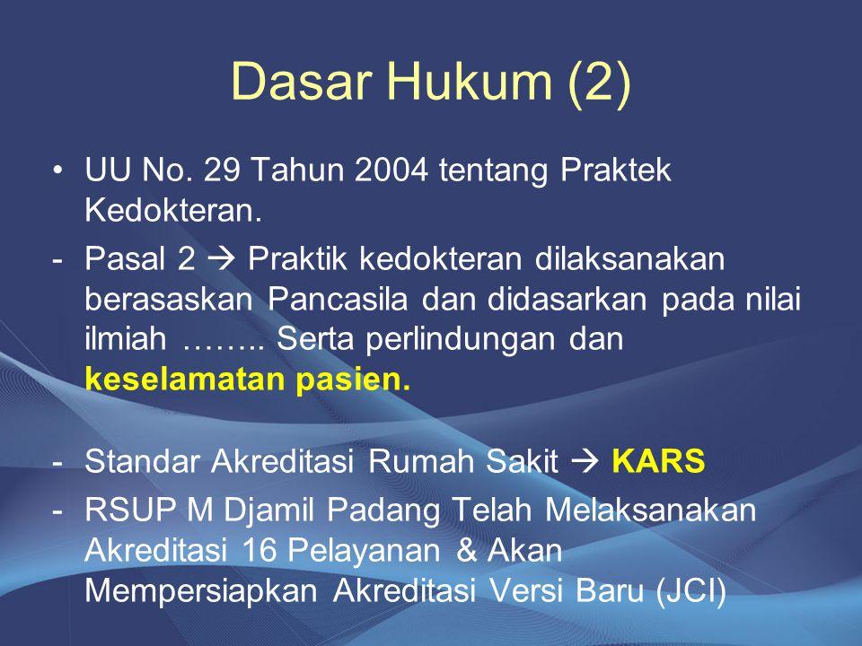 Dasar Hukum (2) UU No. 29 Tahun 2004 tentang Praktek Kedokteran.