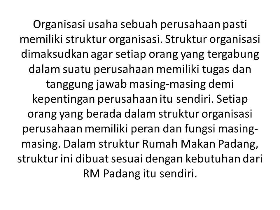 Organisasi usaha sebuah perusahaan pasti memiliki struktur organisasi
