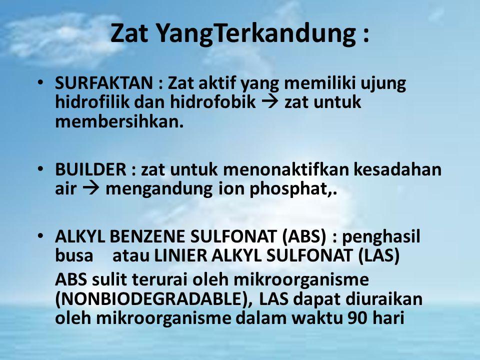 Zat YangTerkandung : SURFAKTAN : Zat aktif yang memiliki ujung hidrofilik dan hidrofobik  zat untuk membersihkan.