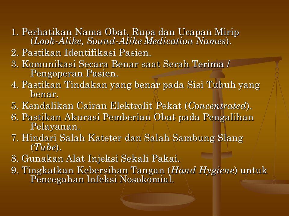 1. Perhatikan Nama Obat, Rupa dan Ucapan Mirip (Look-Alike, Sound-Alike Medication Names).