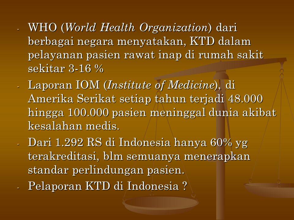 WHO (World Health Organization) dari berbagai negara menyatakan, KTD dalam pelayanan pasien rawat inap di rumah sakit sekitar 3-16 %