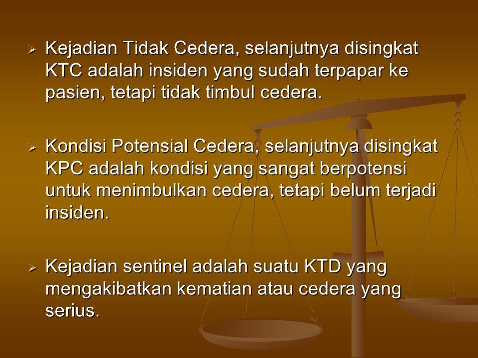 Kejadian Tidak Cedera, selanjutnya disingkat KTC adalah insiden yang sudah terpapar ke pasien, tetapi tidak timbul cedera.