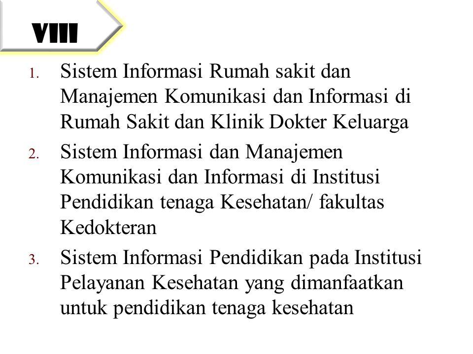 VIII Sistem Informasi Rumah sakit dan Manajemen Komunikasi dan Informasi di Rumah Sakit dan Klinik Dokter Keluarga.