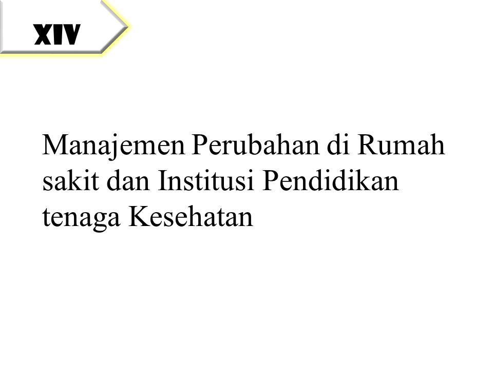 XIV Manajemen Perubahan di Rumah sakit dan Institusi Pendidikan tenaga Kesehatan
