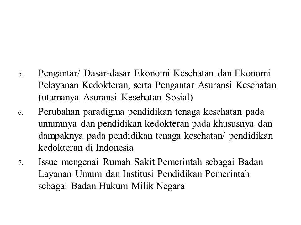 Pengantar/ Dasar-dasar Ekonomi Kesehatan dan Ekonomi Pelayanan Kedokteran, serta Pengantar Asuransi Kesehatan (utamanya Asuransi Kesehatan Sosial)