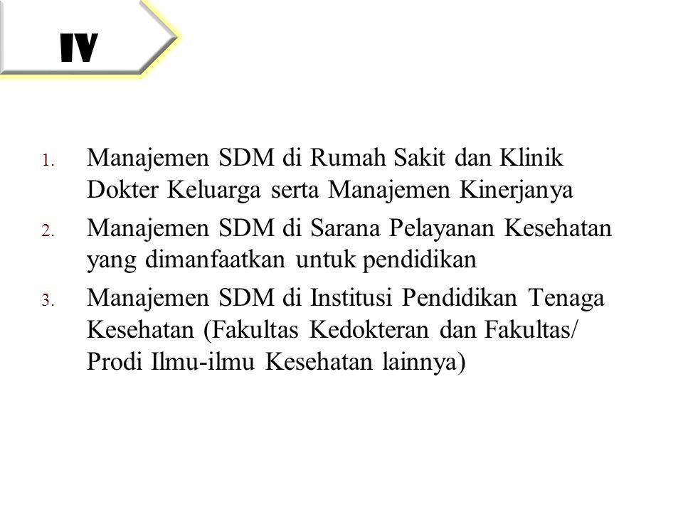 IV Manajemen SDM di Rumah Sakit dan Klinik Dokter Keluarga serta Manajemen Kinerjanya.