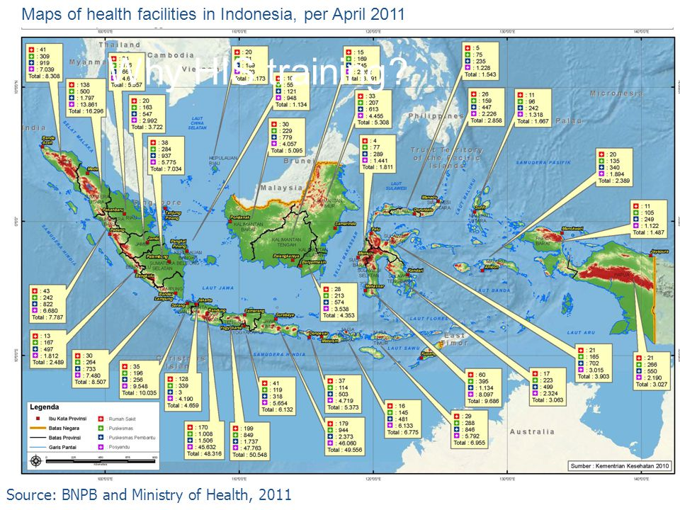 Maps of health facilities in Indonesia, per April 2011