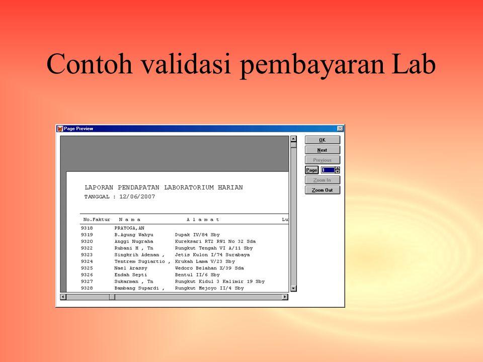 Contoh validasi pembayaran Lab