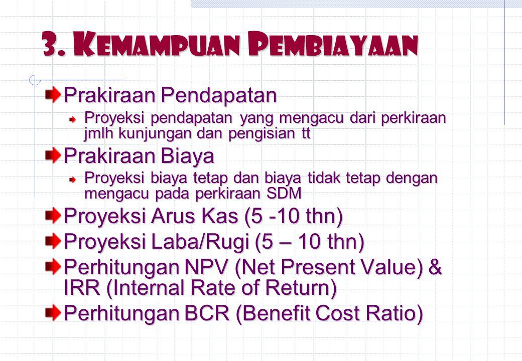 3. Kemampuan Pembiayaan Prakiraan Pendapatan Prakiraan Biaya