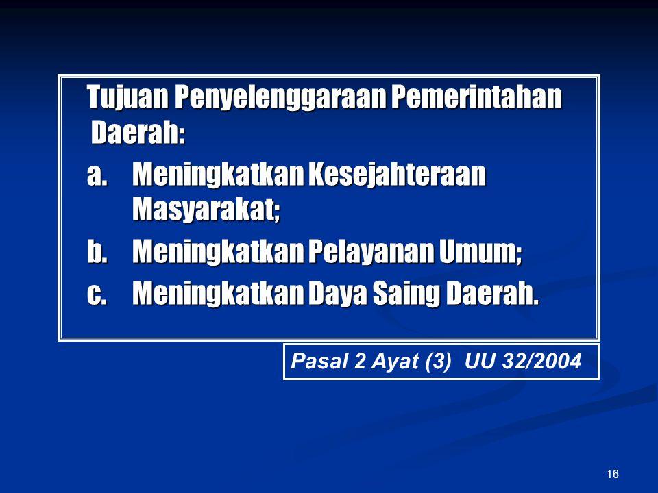 Tujuan Penyelenggaraan Pemerintahan Daerah: