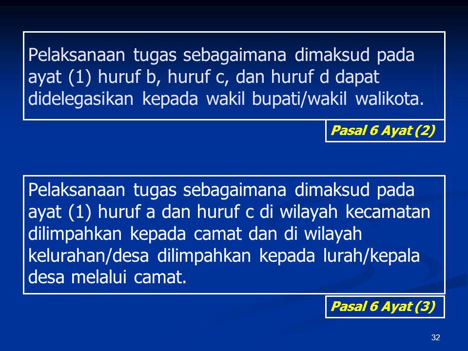 Pelaksanaan tugas sebagaimana dimaksud pada ayat (1) huruf b, huruf c, dan huruf d dapat didelegasikan kepada wakil bupati/wakil walikota.