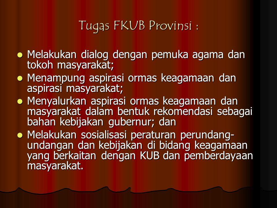 Tugas FKUB Provinsi : Melakukan dialog dengan pemuka agama dan tokoh masyarakat; Menampung aspirasi ormas keagamaan dan aspirasi masyarakat;