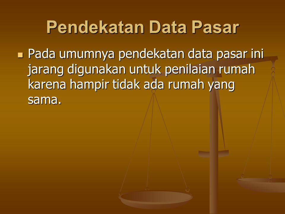 Pendekatan Data Pasar Pada umumnya pendekatan data pasar ini jarang digunakan untuk penilaian rumah karena hampir tidak ada rumah yang sama.