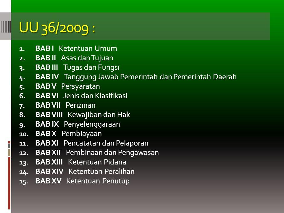 UU 36/2009 : BAB I Ketentuan Umum BAB II Asas dan Tujuan