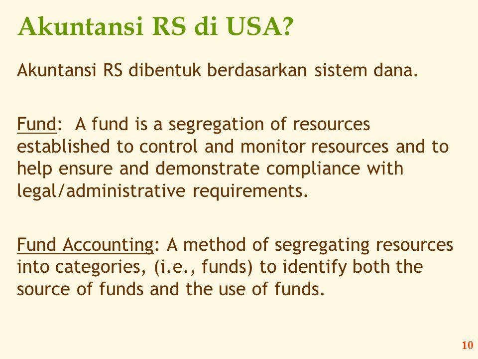 Akuntansi RS di USA Akuntansi RS dibentuk berdasarkan sistem dana.