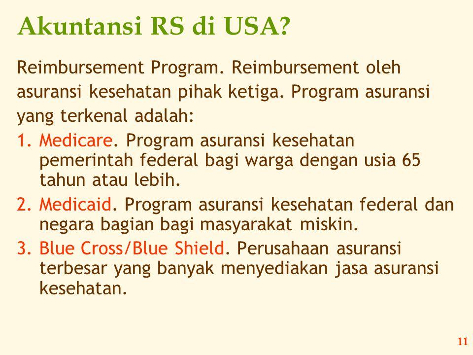 Akuntansi RS di USA Reimbursement Program. Reimbursement oleh