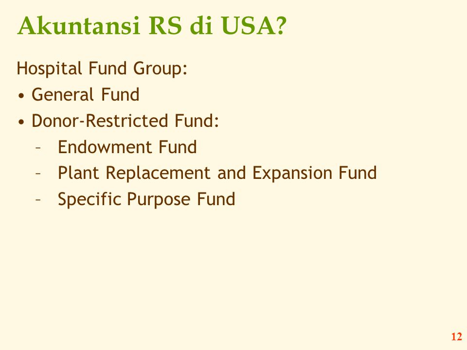 Akuntansi RS di USA Hospital Fund Group: General Fund