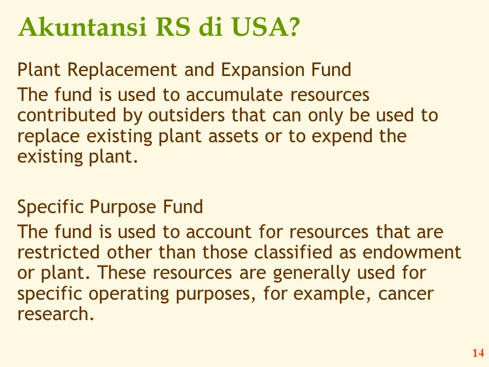Akuntansi RS di USA Plant Replacement and Expansion Fund