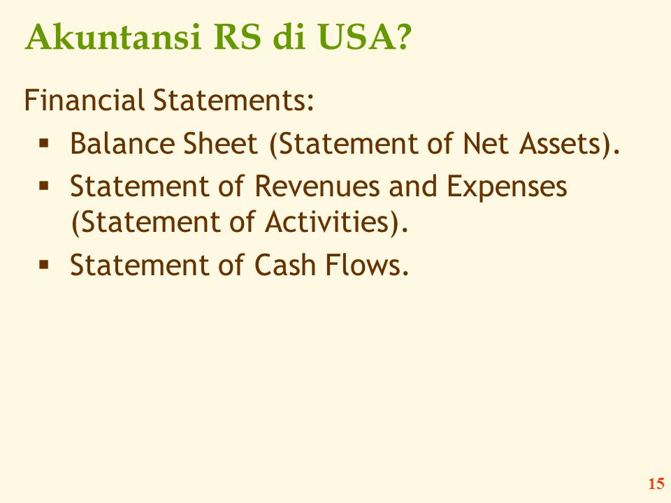 Akuntansi RS di USA Financial Statements: