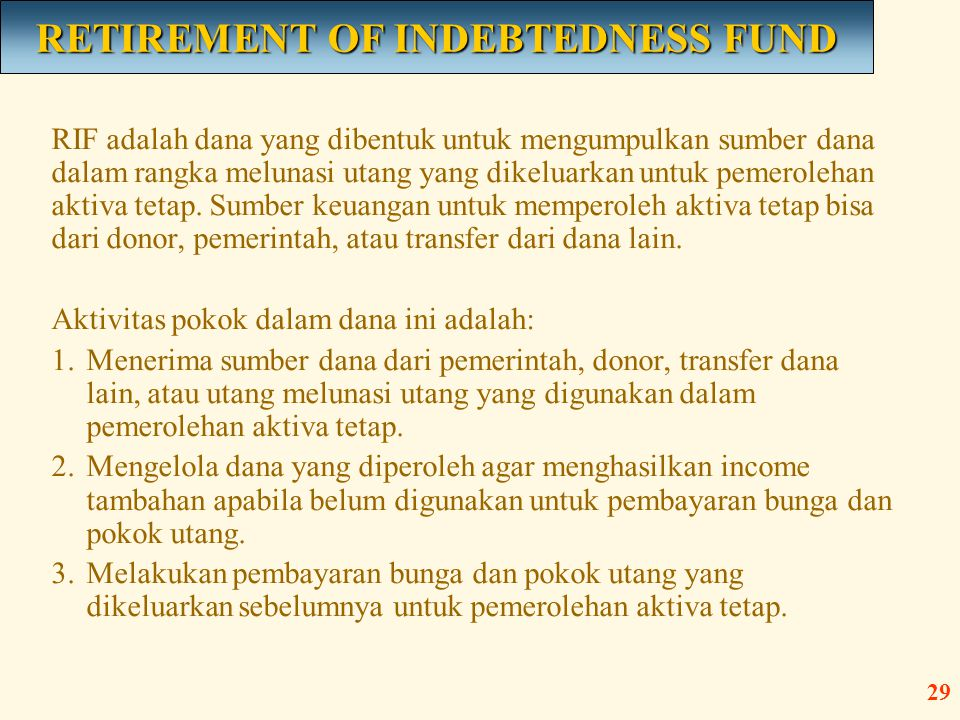 RETIREMENT OF INDEBTEDNESS FUND