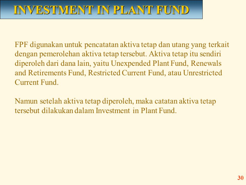 INVESTMENT IN PLANT FUND