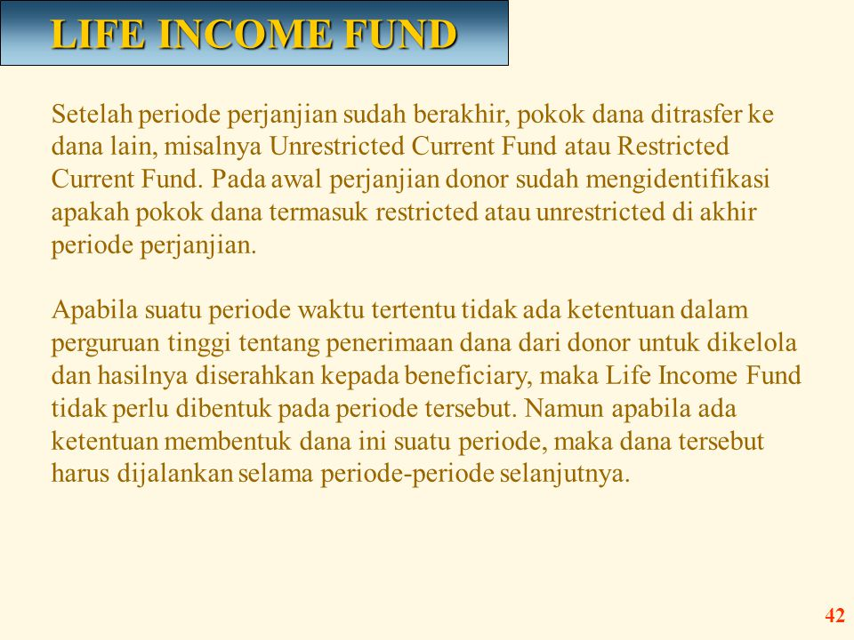 LIFE INCOME FUND
