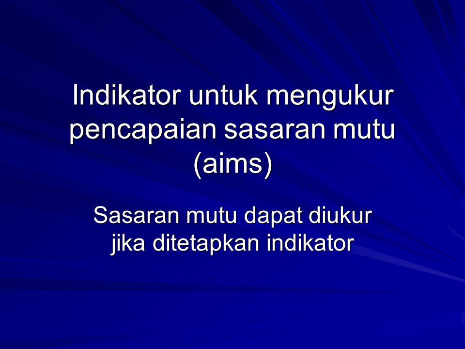 Indikator untuk mengukur pencapaian sasaran mutu (aims)