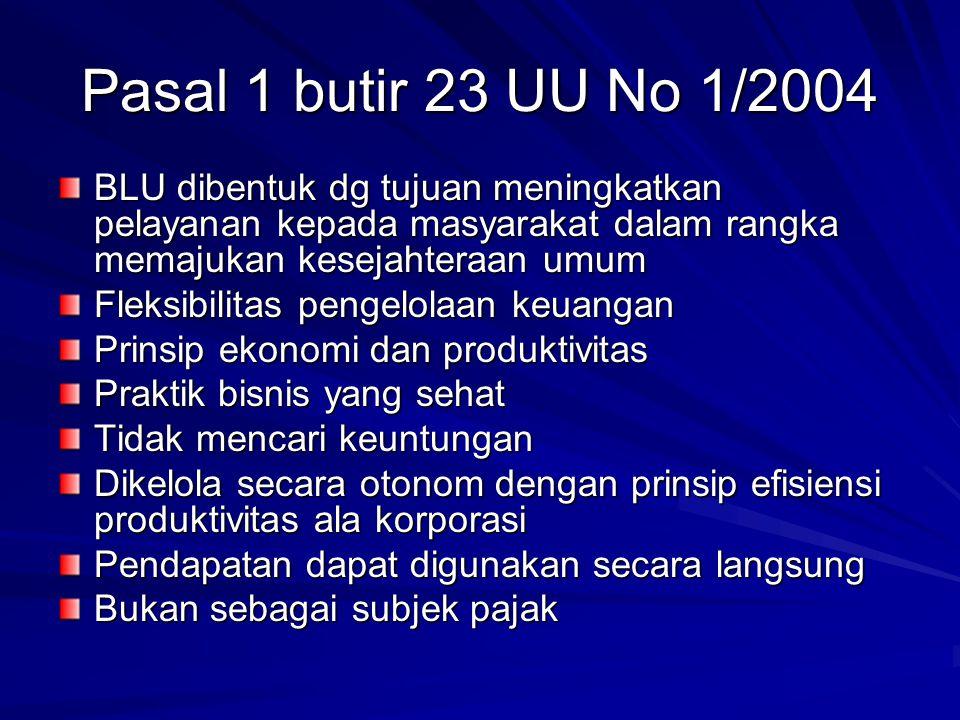 Pasal 1 butir 23 UU No 1/2004 BLU dibentuk dg tujuan meningkatkan pelayanan kepada masyarakat dalam rangka memajukan kesejahteraan umum.