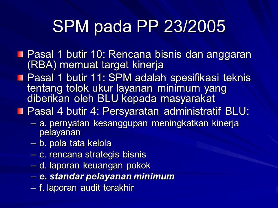 SPM pada PP 23/2005 Pasal 1 butir 10: Rencana bisnis dan anggaran (RBA) memuat target kinerja.