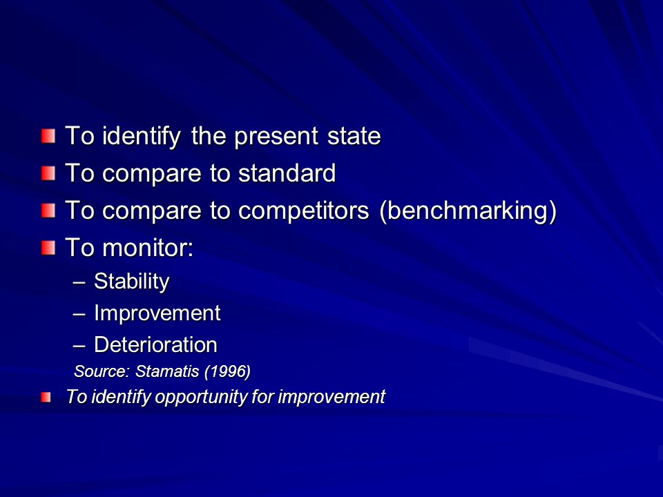 To identify the present state To compare to standard