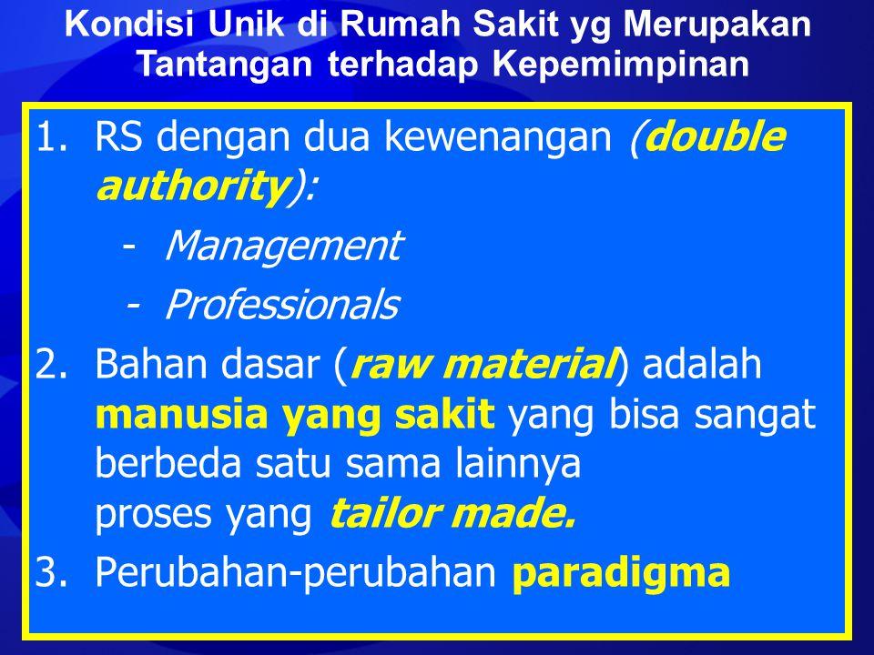 1. RS dengan dua kewenangan (double authority): - Management