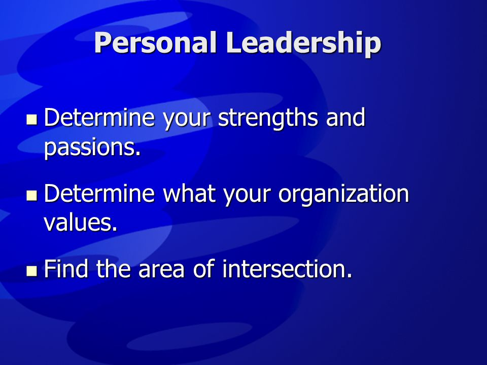Personal Leadership Determine your strengths and passions.